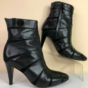 Cole Haan Black Leather Ankle Boots Suede Accents